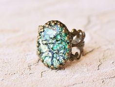 Vintage Fire Opal Ring - RARE Green Fire Opal Glass,Adjustable Brass Filigree Ring,Antique,Birthstone Jewelry
