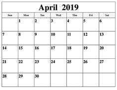 24 Best April 2019 Calendar Printable Cute Template Images