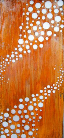 A fun design with playful polka dots of varying sizes of circles on a perforated steel divider privacy screen. Love the variegated color of the surface where the iron has developed a rust patina over time. Likely laser cut! Laser Cut Screens, Laser Cut Panels, Laser Cut Metal, Plasma Cnc, Plasma Cutting, Corte Plasma, Steel Cladding, Weathering Steel, Outdoor Screens