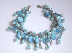 Blue  Pearl 2 in 1 Necklace and Bracelet  by koolstuff2 on Etsy, $24.99