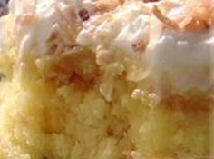 Better Than Sex Cake (Yellow Cake Mix, Sugar, Crushed Pineapple, Vanilla Pudding Mix/Not Instant, Cool Whip & Flaked Coconut) l Just A Pinch