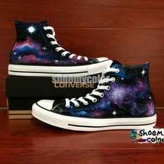 28b6250d6ec38f Womens Converse Shoes Galaxy Nebula Hand Painted High Top Canvas Shoes -  shoemycolor.artfire.