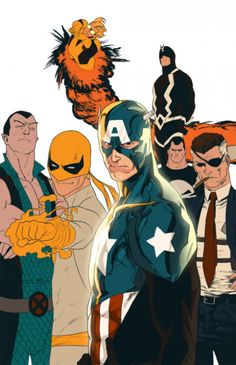 Clockwose from top: Cannonball, Black Bolt, Punisher, Fury, Captain America, Iron Fist, Namor