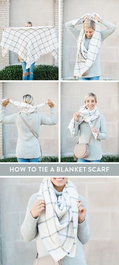 How to Tie a Blanket Scarf - Lemon Stripes