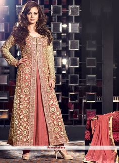 Diya Mirza Style Dark Peach And Beige Georgette Pakistani Style Suit