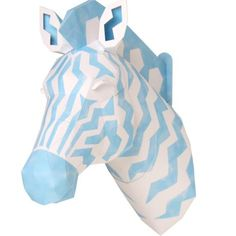 Canon Papercraft: Animal Paper Model - Zebra (Blue) Wall Hanging Sculpture Free Template Download