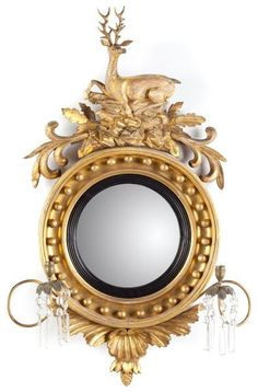 Regency Period Girandole MirrorEnglish, circa circular convex mirror within an ebonized liner and cove molded f. Convex Mirror, Mirror Mirror, English Country Style, Decoupage, Antique Interior, Floor Mirror, Simple Lines, Decoration, Custom Framing