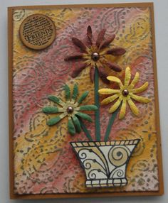 Background with embossing folder and gelatos.