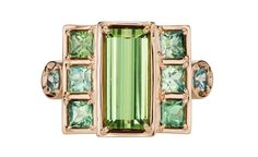Large Cloud Swing ring in 18k rose gold with grassy green tourmaline, green sapphires, and blue-green tourmaline by Jane Taylor Jewelry