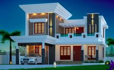 is a Four Bedroom Two Storey Contemporary Residence having a total floor area of 176 sq. which can be built in a lot with a minimum lot frontage of 3d House Plans, Home Design Floor Plans, Bungalow House Plans, Kerala House Design, Small House Design, Modern House Design, Single Storey House Plans, Two Storey House, Style At Home