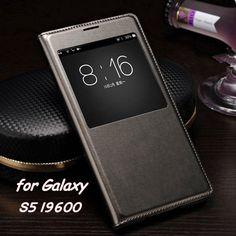 Slim Leather Flip Cover Case For Samsung Galaxy S5 S 5 i9600 Smart Sleep Wake up View Phone Cases For S5 with Waterproof Chip -- La información detallada se puede encontrar haciendo clic en la imagen