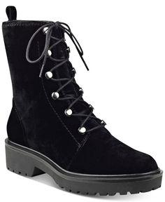 Guess Women's Weisy Black Velvet Combat Boots