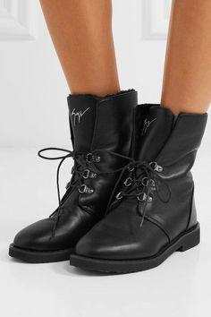 Giuseppe Zanotti - Shearling-lined Leather Boots - Black