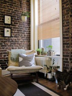 I've always been fascinated with interior brick walls.  What a cozy place to read a good book on a lazy Sunday afternoon! :)