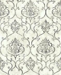 Small Damask 1 Wallpaper from the Lisbon Collection by Studio 465   BURKE DECOR