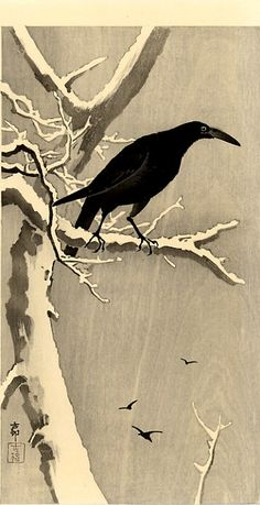 Ohara Koson - Crow on a Snowy Branch http://www.wikipaintings.org/en/paintings-by-genre/bird-and-flower-painting