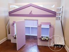 Playhouse Loft Bed, Indoor Playhouse, Nook, Stair Slide, Diy Bett, Stair Storage, Drawer Storage, Bed With Slide, Big Girl Rooms