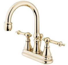 Gallery For Website NuvoFusion Goose Neck Widespread Polished Brass Bathroom Faucet Brass bathroom faucets Brass bathroom and Faucet