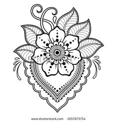 Mehndi flower pattern for Henna drawing and tattoo. Decoration in ethnic orienta… Mehndi flower pattern for Henna drawing and tattoo. Decoration in ethnic oriental, Indian style – Kaufen Sie diese Vektorgrafik bei Shutterstock und. Mehndi Flower, Henna Mehndi, Henna Art, Mehndi Patterns, Indian Patterns, Flower Patterns, Henna Tattoo Designs, Flower Tattoo Designs, Flower Tattoos