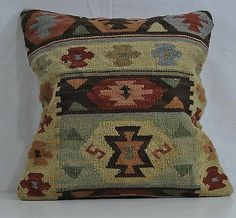 "18"" Wool Kilim Kelim Rug Decorative Throw Pillow Case Cushion Cover 5371"