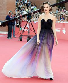 Lily Collins made an ethereal entrance on the red carpet for her film Love, Rosie.
