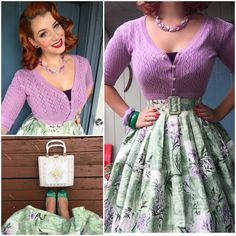 Outfit details from Monday Vintage skirt, bag, necklace and bangles, shoes from dark purple top from and cardigan from 1950s Outfits, Pin Up Outfits, Vintage Style Outfits, Pretty Outfits, Vestidos Vintage, Modest Fashion, Girl Fashion, Fashion Outfits, Vintage Skirt
