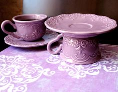 Single Cupcake Stand / Vintage Tea Party Decor in Lilac, Lavender or Light Purple / Creme Brulee Pedestal / Housewarming Gift Hostess Gift. $25.00, via Etsy.