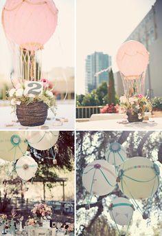 hot air balloon wedding decor - Wedding Ideas, Wedding Trends, and Wedding Galleries Hot Air Balloon Centerpieces, Wedding Balloon Decorations, Wedding Balloons, Balloon Party, Balloon Ideas, Outdoor Decorations, Air Ballon, Giant Balloons, Receptions