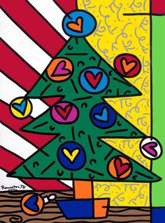 Holiday Season by Romero Britto Pop Art, Tableau Design, Graffiti Painting, Arts Ed, Winter Art, Art Plastique, Elementary Art, Christmas Art, Pattern Wallpaper