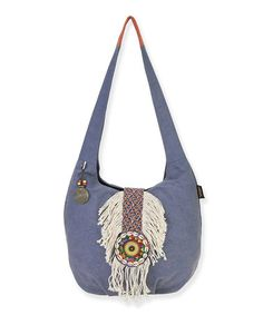 2567c6250718 Catori Denim Blue Embellished Dream Catcher Hobo
