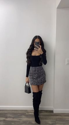 Cute Date Outfits, Cute Skirt Outfits, Boujee Outfits, Teen Fashion Outfits, Girly Outfits, Cute Casual Outfits, Look Fashion, Stylish Outfits, Teen Party Outfits