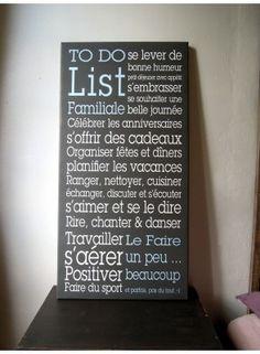To+Do+List+Famille+® Une+belle+toile+Canvas+imprimée.+ Texte+original+Mes+MOts+DécO,+reproduction+interdite.