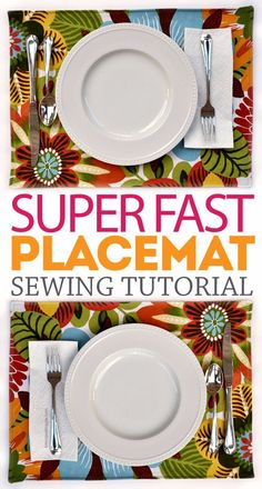DIY Sewing Projects for the Kitchen - Super Fast Placemat - Easy Sewing Tutorials and Patterns for Towels, napkinds, aprons and cool Christmas gifts for friends and family - Rustic, Modern and Creative Home Decor Ideas Sewing Hacks, Sewing Tutorials, Sewing Crafts, Sewing Tips, Sewing Ideas, Fabric Scraps, Fabric Purses, Costura Diy, Diy Couture