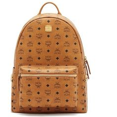 Mcm Stark Back Pack ($830) ❤ liked on Polyvore featuring bags, backpacks, cognac, real leather backpack, leather bags, leather zip backpack, day pack backpack and mcm