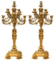 Pair Antique French Empire Egyptian Revival Style Gilt Bronze Candelabra