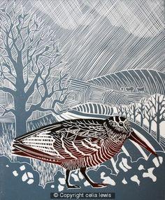 Woodcock - Linocut by Celia Lewis(background interests me - Sue) Linocut Prints, Art Prints, Block Prints, Wood Engraving, Wildlife Art, Woodblock Print, Bird Art, Painting & Drawing, Illustration Art