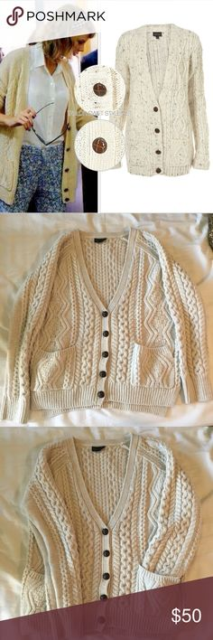 Topshop Clean Cut Cable Knit Cream Cardigan Topshop cream cardigan. Size 4. (Could fit an XS-S) Hits a little below the waist, depending on your size. Excellent used condition. One pocket is starting to separate from cardigan, but could easily be reattached if you know how to sew. Topshop Sweaters Cardigans