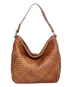 Cognac Oprah Basket-Weave Leather Boho Bag