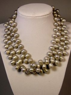 Double Strand of Large Oval Freshwater Pearls on Etsy, $350.00