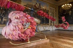 Lilicopter, a fairy princess modern carriage made of ostrich feathers, crystals and gold by Joana Vasconcelos