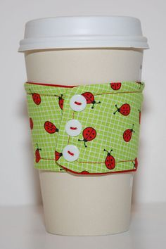 Ladies In Lime  Reusable Cotton Coffee Sleeve by pipinghaute, $6.50
