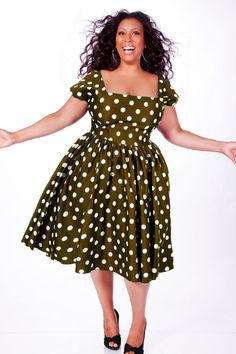 I love this dress!  JIBRI Plus Size Polka Dot Swing Dress (Olive).
