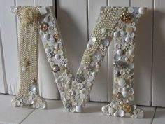 Monogram Embellished With Vintage Buttons, Necklaces, & Broaches