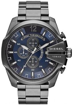 Diesel Mega Chief Chrono  - All Gunmetal With Blue Dial. Very Trendy and Sexy!! Only The Brave!!