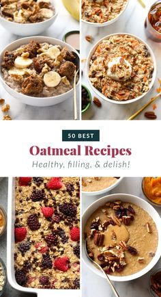 This list of healthy oatmeal recipes brings you all the oatmeal flavor combos you could ever imagine. With its high fiber content, oatmeal is sure to keep you full all morning to conquer the day ahead! Best Oatmeal Recipe, Healthy Oatmeal Recipes, Healthy Crockpot Recipes, Healthy Breakfast Recipes, Healthy Foods, Healthy Waffles, Healthy Breakfast Smoothies, Oatmeal Flavors, Green Smoothie Recipes