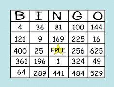 Math-n-spire...perfect square bingo