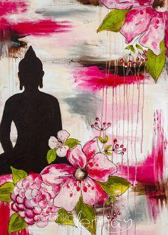 Carte de voeux Bouddha rosé mixed médias de la boutique MarikaLemayArtiste sur Etsy