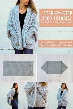Pockets and bobbles--hooray! This step by step how to crochet a sweater video tutorial is perfect for crocheters who are new to making cardigans. Free pattern + tutorial including plus sizes.    #crochetcardigan #freecrochetpattern #freecrochetsweaterpattern #crochetvideotutorial via @makeanddocrew