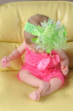 Lime Green Over The Top Bow on Matching by loveablebabyboutique, via Etsy.