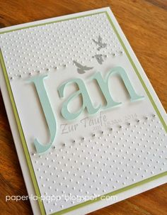 handmade card ... soft colors ... name die cut in large letters ... luv the font ...